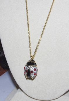 Joan Rivers Egg Necklace  Ladybug Pendant with Crystals