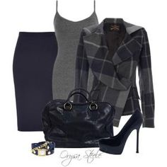 Navy Check, created by orysa on Polyvore by rosanne