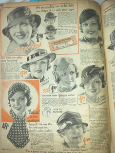 Winter 1934 sears Personal collection Dollface and Dapper Vintage Hats For Women, Clothes For Women, Women's Clothes, Fashion History, Dapper, Suede Leather, 1930s, Women's Accessories, Mad