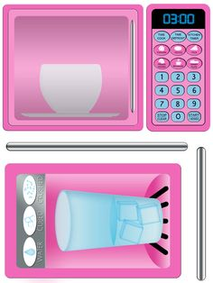 Pink Refridgerator and Microwave Play Kitchen Decals by Printatoy Cardboard Furniture, Repurposed Furniture, Kids Furniture, Pink Play Kitchen, Play Kitchens, Kitchen Decals, Sticky Paper, Label Paper, Diy For Kids