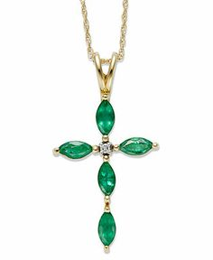 14k Gold Necklace, Emerald (3/4 ct. t.w.) and Diamond Accent Cross Pendant Web ID: 693424