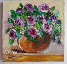 Purple Roses Bouquet IMPASTO Original Oil Painting Impressionist Europe Artist #ImpressionismImpasto