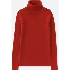 UNIQLO Women's Extra Fine Merino Ribbed Turtleneck Sweater (1,535 PHP) ❤ liked on Polyvore featuring tops, sweaters, dark orange, red sweater, red turtleneck sweater, ribbed turtleneck, turtleneck sweater and red turtleneck