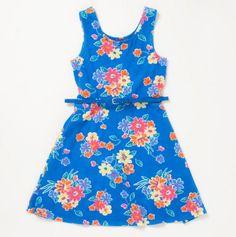 Big Girls Floral Flippy Dress with Belt
