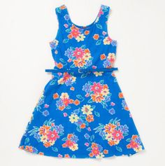 Big Girls Floral Flippy Dress with Belt