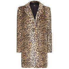 Mango Animal Faux Fur Coat, Camel