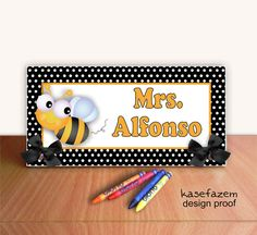 Blue Polka Dots and Pink Stripes with Cute Bee Personalizable Office Desk Nameplate