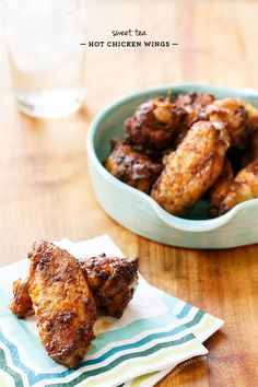Perfect football finger food! These Sweet Tea-Brined Baked Hot Chicken Wings are tender and juicy and perfectly spicy.
