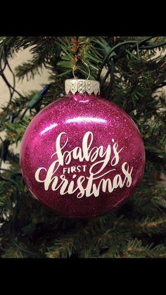 Babies First Christmas Ornament Cricut Christmas Ideas, Christmas Vinyl, Painted Christmas Ornaments, Christmas Goodies, Christmas Holidays, Christmas Bulbs, Christmas Decorations, Christmas Girls, Christmas Stuff