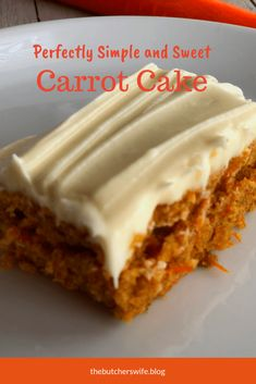 This carrot cake is moist and sweet and the cream cheese frosting is delicious! … This carrot cake is moist and sweet and the cream cheese frosting is delicious! Simple to make and yummy to eat! The perfect treat for the Easter Bunny! Carrot Cake Bars, Homemade Carrot Cake, Moist Carrot Cakes, Homemade Cake Recipes, Baking Recipes, Dessert Recipes, Carrot Cake Recipes, Carrot Sheet Cake Recipe, Simple Carrot Cake Recipe