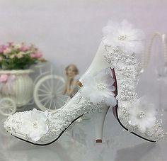 Laço Branco Marfim Pérolas sapatos Casamento nupcial Flats Baixa Salto Alto Tamanho 5/12