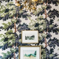 happiness *might* be green, leafy wallpaper during the depths of winter 🌿🙌🏼🏆 loving this 🖼 moment from in the feed 💚 with one of my all-time favorite patterns from . Moulding And Millwork, Best Neutral Paint Colors, Wallpaper Ceiling, Mid Century Dining, Winter Love, Hacienda Style, Cool Lighting, Interior Styling, Home Art