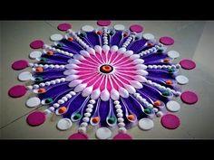 How to make beautiful innovative multi colour rangoli - Simple Craft Ideas Rangoli Designs Latest, Latest Rangoli, Rangoli Designs Images, Rangoli Designs Diwali, Diwali Rangoli, Diwali Craft, Easy Rangoli Patterns, Rangoli Colours, Rangoli Ideas