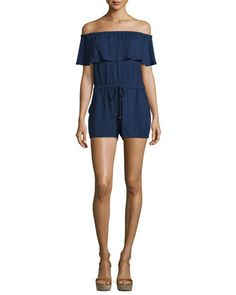 Stella+Off-The-Shoulder+Romper,+Midnight+by+Ella+Moss+at+Neiman+Marcus.