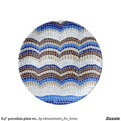8.5'' porcelain plate with blue mosaic