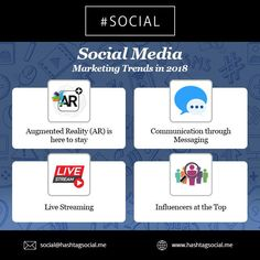 Social Media Marketing Trends in 2018 #hashtag #social #Socialmedia #trends #2018 #AR #Messaging #Livestreaming #Influencers #Dubai #UAE #Instagram #Twitter #Facebook www.hashtagsocial.me
