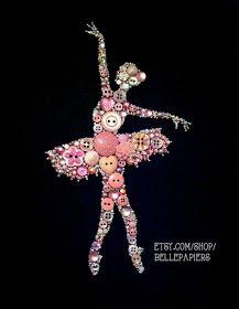 Button Art ballerina Couldn't pin from original site - knöpfe - unique crafts Ballet Crafts, Dance Crafts, Diy Buttons, Vintage Buttons, Crafts To Make, Arts And Crafts, Diy Crafts, Jewelry Crafts, Jewelry Art