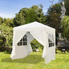 Outdoor Pop Up Gazebo Canopy Tent White Colour Steel Frame Lawn Garden Furniture Small Gazebo, Hot Tub Gazebo, Gazebo Canopy, Backyard Gazebo, Garden Gazebo, Canopy Outdoor, Lawn And Garden, Outdoor Shelters, Pvc Windows