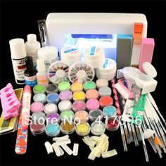 Vip Beauty Full Set Acrylic Powder Uv Gel Kit Brush Pen Lamp Nail Art Diy Manicure With Duck Tips Check Out This Great Product