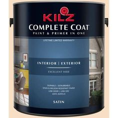 Kilz Complete Coat Interior/Exterior Paint & Primer in One, #LD190-02 Lace Gloves, White