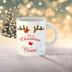Christmas Nana Mug - Gift for Nana - Nana gift- Custom Name Mug - Name Mug - Christmas Gift - Grandma Mug Christmas Gifts For Grandma, Grandma Gifts, Merry Christmas, Grandma Mug, Name Mugs, Print Design, Tableware, Prints, Merry Little Christmas