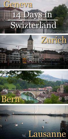 A Two-Week to Switzerland Itinerary. Day 1 - Arrived to Zurich. Day 2 - Bus Tour Zurich. Day 3 - St. Gallen. Day 4 - St. Moritz. Day 5 - Lugano. Day 6 - Zermatt. Day 7 - Tour around Zermatt. Day 8 - Lausanne. Day 9 - Geneva. Day 10 - Tour around Geneva. Day 11 - Neuchatel. Day 12 - Bern. Day 13 - Lucerne. Day 14 - Return to Zurich.