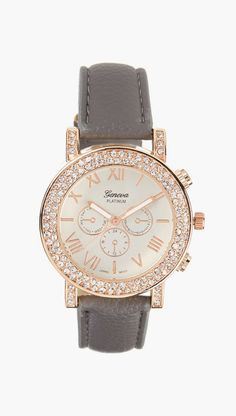 Gray & Rose Gold Rhinestone Watch