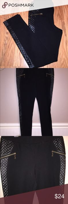 Black Faux leather pants size Large Only worn 2 times, black pants with faux leather on both sides of pants, 2 zipper pockets, not actual pockets on both sides, really nice in person, pictures don't do these justice, great to dress up for a night out or work, size 42 Euro/size Large, excellent condition  Pet/smoke free home  Fast shipping Pants Skinny