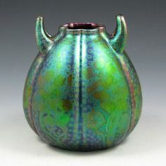 """Weller Pottery, Sicard; bulbous, lobed vase with upturned handles, 6-1/4""""h"""