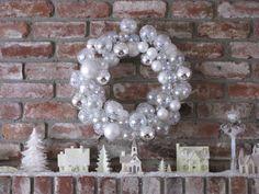 Christmas Village Snowy and Bright Christmas Home, Christmas Wreaths, Ornament Wreath, Ornaments, Hanukkah, Bright, Holiday Decor, Home Decor, Flowers