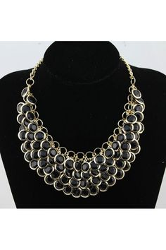 The necklace crafted in alloy, featuring three layers acrylic bead, metal embellishment, elegant and fashion.