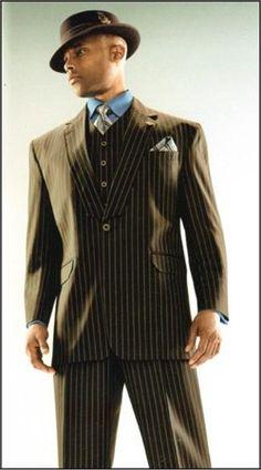 ✤ ❁ Men's Suits 3 Piece with 1 Button Stacy Adams Suit Mens Tux, Mens Attire, Mens Suits, 1940s Fashion, Suit Fashion, Mens Fashion, Sharp Dressed Man, Well Dressed Men, Stacy Adams Suits