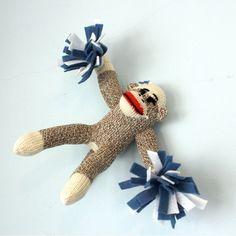 Sock Monkey Cheerleader  Customizable colors by heidibg on Etsy, $28.00