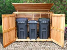 Cedar Outdoor Garbage Can Storage Bins and Enclosures & Double wheelie bin store...much better than the eye sore that ...