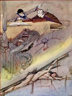 Edgar Allan Poe's The Fall of the House of Usher Illustration by Harry Clarke (1923)