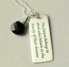 Women Black Necklace Sterling PEndant,  Dream High Believe, College Grad Gift 2012, Unique Grad Gift Ideas, Inspirational Gift , New Job. $41.00, via Etsy.