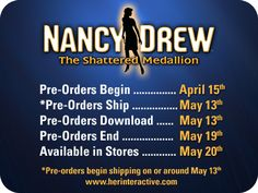 Nancy Drew: The Shattered Medallion pre-order dates have been revealed! #NancyDrew #TheShatteredMedallion #HerInteractive
