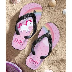 ce3bccab40bab1 Personalized Planet Sweet Unicorn Personalized Flip Flop (895 RUB) ❤ liked  on Polyvore featuring