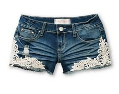 $24.95 Almost Famous Kara Crochet Medium Wash Denim Shorts - Bestie.com