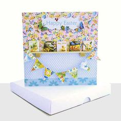 LUXURY EASTER CARD : BOXED CARD : 3D MINIATURE DESIGN Birthday Bunting, Easter Card, Large Letters, Unique Cards, Happy Easter, Decorative Boxes, Greeting Cards, Miniatures, 3d