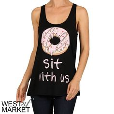 Donut Sit with Us Tank Black Racerback tank, super soft! West Market SF Tops Tank Tops