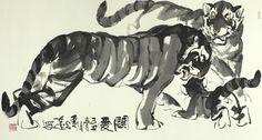劉光達 Liu Guangda 關愛 Family love  96x179cm  #hongkongartgallery #hk #hongkong #asian #asianart #exhibition #artist #artwork #ink #inkart #art #world #animal #animals #nature #passion #tiger #tigers #family #care #warm #support #fearless #king #painting #paintings #gallery #artgallery #LiuGuangda