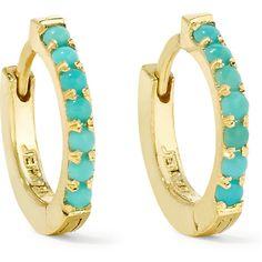 Jennifer Meyer Huggie gold turquoise hoop earrings ❤ liked on… Jennifer Meyer, Sleeping Beauty Turquoise, Green Turquoise, Turquoise Earrings, Jewlery, Hoop Earrings, Bracelets, Razzle Dazzle, Gold