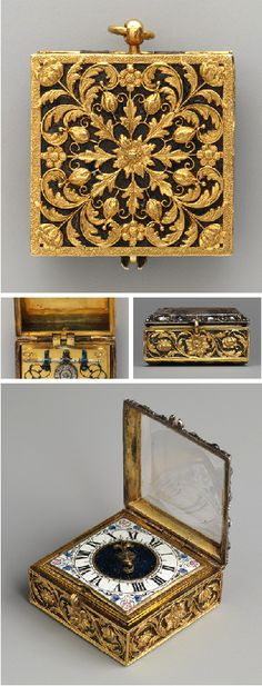 Watch/Locket  Watchmaker: F. L. Meybom.  ca. 1670–75. French (Paris). Case: gold, partly enameled, blued steel, gilded brass, rock crystal, silver, and diamonds; Movement: gilded brass, steel, partly blued