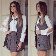 Look todo @roupanmodas ❤ Camisa deusa de seda com colete e saia de tweed!! Não tá muito chique?! Ameeeei muito! A loja envia para todo Brasil meninas