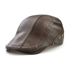 317fa14a8ae Mens Man-made Leather Solid Beret Hat Casual Autumn Warm Golf Forward Caps  Adjustable