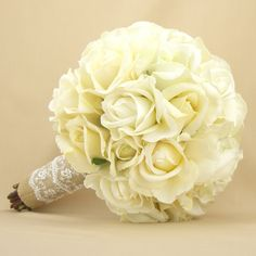 Rustic Bridal Bouquet Burlap Lace Roses Real Touch Silk Wedding Flowers White Cream Ivory. $215.00, via Etsy.