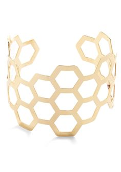 Sweet Like Honeycomb Bracelet. Add sweet shining style to your ensemble with this gold cuff bracelet!  #modcloth