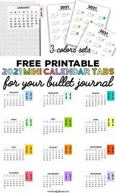 Printable Tabs, Monthly Planner Printable, Printable Calendar Template, Free Printables, Printable Stickers, Planner Template, Free Stickers, Kids Calendar, 2021 Calendar