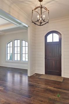 Wood Floor, Plank Walls, Front door and light fixture Style At Home, Plank Walls, Wood Walls, My New Room, Fixer Upper, My Dream Home, Home Projects, Home Remodeling, Building A House